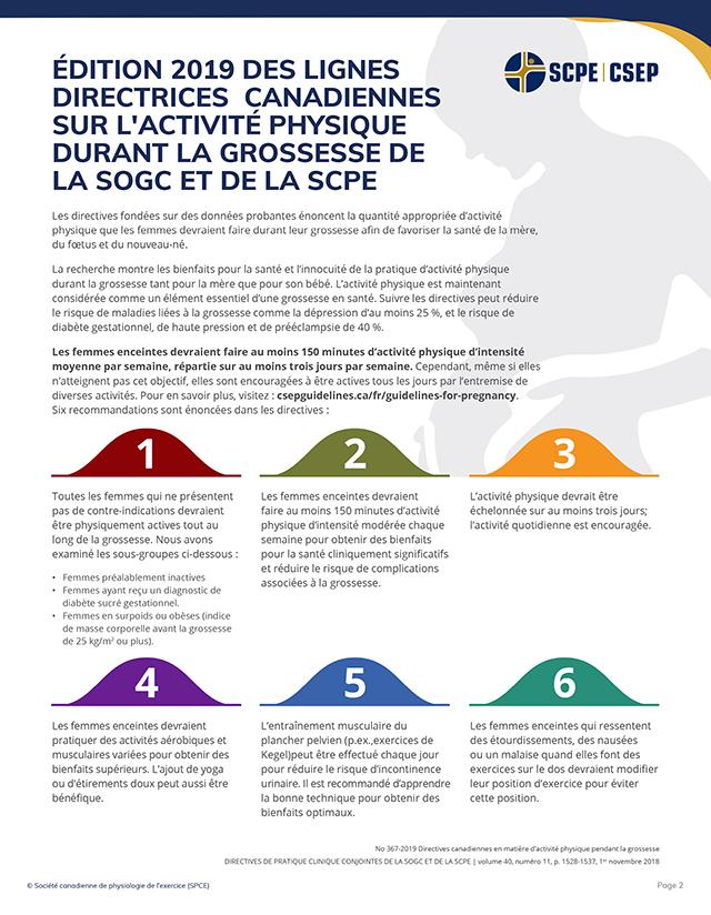 Formulaire de consultation du professionnel de la santé concernant l'activité physique prénatale p2